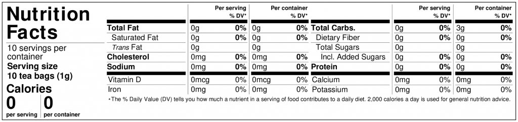 Nutrition Label detox blend tea bags